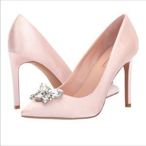 Avec Les Filles pink Satin jewel pumps heels
